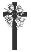 Funeral Ornament Concept With Hand Drawn Roses And Cross In Black Color Isolated On White Vintage Engraved Style Modern Template Background Design For Invitation, Card, Obituary