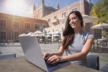 Digital Nomad Business Entrepreneur Professional Working From Laptop While Traveling And Living Abroad