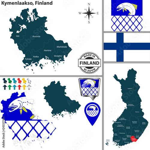 Fotografie, Obraz  Map of Kymenlaakso, Finland