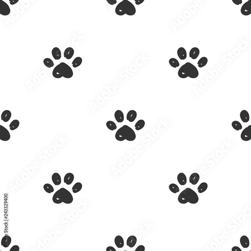 obraz PCV Cat paws seamless pattern.