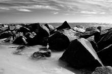 Jetty Rocks At Ocean Inlet Florida, USA
