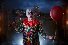 Scary Bloody Clown With Baseball Bat And Balloon