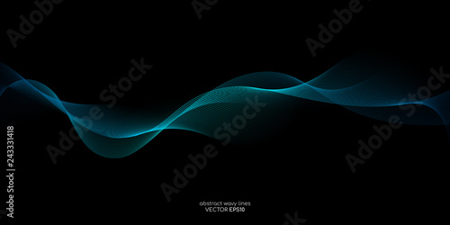 Abstract vector wave line flowing green and blue color isolated on black background for design elements in concept technology, music, science, A Poster Mural XXL