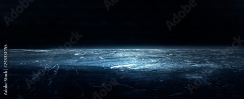 Obraz na plátně  Empty dark room, cold dark background, smoke, smog, the light from the window falls to the floor