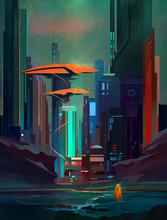 Drawn Fantastic Cyberpunk Land...