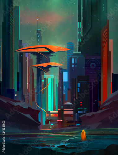 drawn fantastic cyberpunk landscape with skyscrapers and traveler