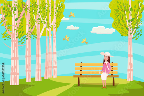 Spoed Foto op Canvas Turkoois Spring landscape city park. The sitting girl on the bench is dreaming. Birds singing. Blue sky. Bright juicy colors. Vector, illustration, isolated. Cartoon style