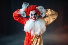 Scary Bloody Clown Tears His Hair, Jerk In Anger