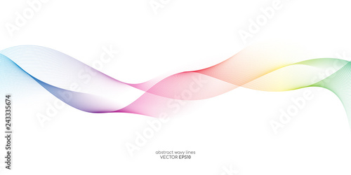 Tuinposter Abstract wave Abstract vector colorful wave line flowing isolated on white background for design elements in concept technology, music, science, A.I.