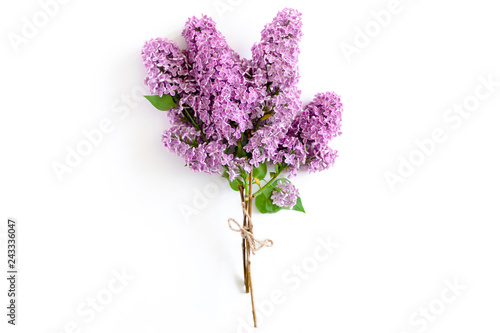 Photo sur Aluminium Lilac Bouquet of lilac tied with twine