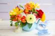 canvas print picture - Froehliche bunte Blumen