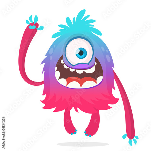 Cute Cartoon Monster With One Eye Smiling Monster Emotion With Big Mouth Halloween Vector Illustration Of Cyclops Buy This Stock Vector And Explore Similar Vectors At Adobe Stock Adobe Stock