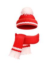 Winter Warm Red Hat, White Pom-pom, Knitted Scarf