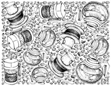 Illustration Wallpaper Background Of Hand Drawn Sketch Of Coffee Beans With French Press Pot Or Cafetiere A Piston With Vietnam Coffee Dripper And Glass Pot.
