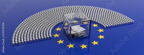 Carta da parati European Union parliament seats and a voting box on EU flag background