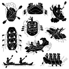 Rafting Icons Set. Simple Set Of Rafting Vector Icons For Web Design On White Background