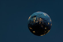 Dead Burning Planet On A Dark Blue Background