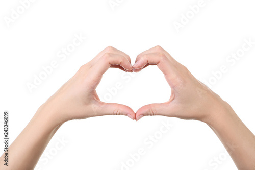 Fotografía  Female hands showing heart on white background