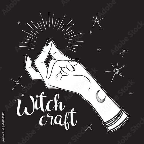 Photo Hand drawn witch hand with snapping finger gesture