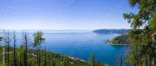Awe view on the source of the Angara river at lake Baikal in Listvyanka village Canvas Print