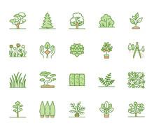 Trees Flat Line Icons Set. Pla...
