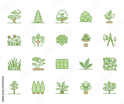 Obraz Trees flat line icons set. Plants, landscape design, fir tree, succulent, privacy shrub, lawn grass, flowers vector illustrations. Thin green signs for garden store - fototapety do salonu