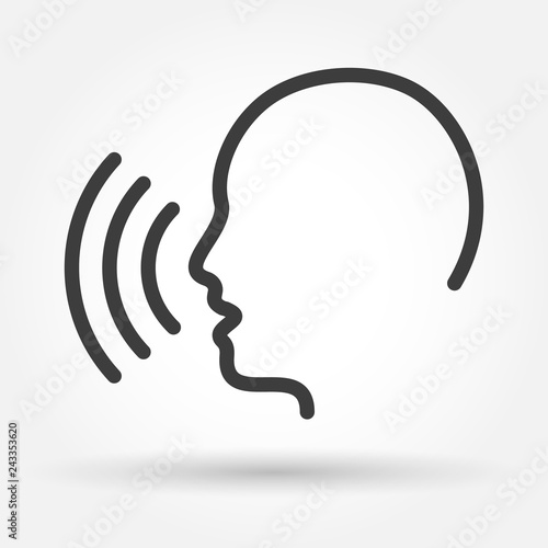 Obraz Voice control icon. Speak or talk recognition linear icon, speaking and talking command, sound commander or speech dictator head, vector illustration - fototapety do salonu