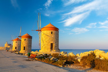 Windmill In Rhodes Town During Sunset, Greece