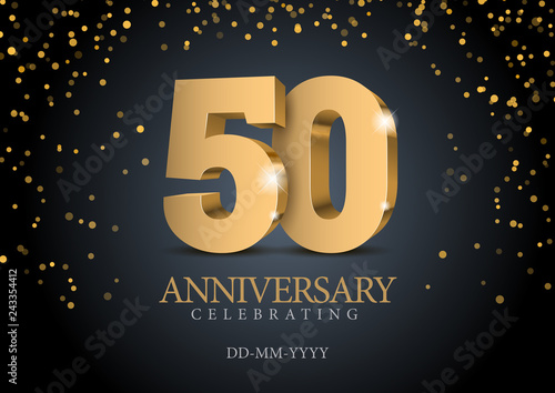 Anniversary 50. gold 3d numbers. Canvas Print