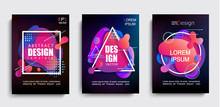 Set Of Liquid Gradient Color Abstract Shapes On Black Background.Modern Banner With Fluid Design.Circle,triangle,square Frames With Wavy Bright Splashes.Geometric Template For Web,print,covers,design.