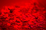 Red hearts confetti texture. Happy Valentines day background. - 243354877