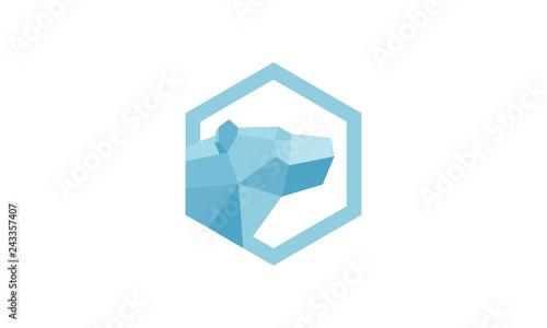 Fotografiet Polar Bear Vector Logo constructed using polygonal shapes.