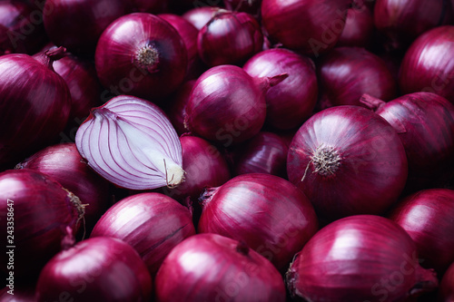 Full Frame Shot Of Purple Onions