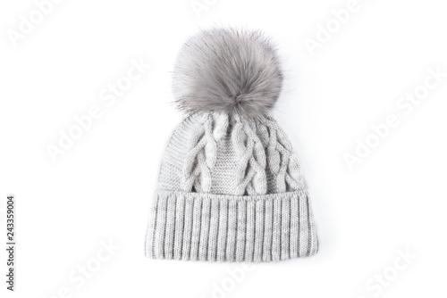 fede3f75478 Gray winter knitted hat with boom isolated on…