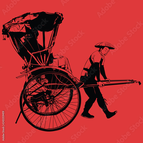 Stickers pour porte Art Studio old traditional vintage japanese hand pulled rickshaw