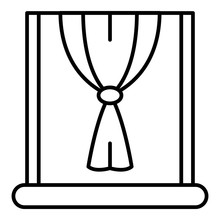 Window Node Curtain Icon. Outline Window Node Curtain Vector Icon For Web Design Isolated On White Background