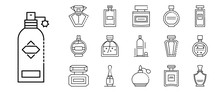 Fragrance Bottles Icons Set. Outline Set Of Fragrance Bottles Vector Icons For Web Design Isolated On White Background