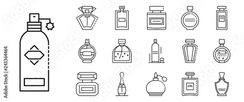Fototapeta Fragrance bottles icons set. Outline set of fragrance bottles vector icons for web design isolated on white background obraz