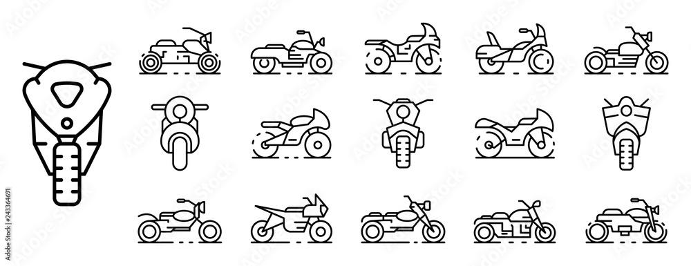 Fototapeta Motorbike icons set. Outline set of motorbike vector icons for web design isolated on white background