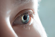 Human eye close-up. Macro photo of blue female eye.