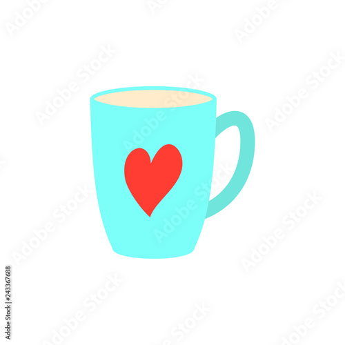 Poster Retro sign Coffee cups, red coffee cup heart, Valentines day greeting card, greeting inscription - Happy Valentine's day