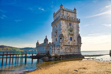 Lisbon, Belem Tower At Sunset On The Bank Of The Tagus River
