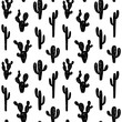 Hand drawn cute kids abstract seamless pattern with cactus. Rustic, boho simple black and white background. Cartoon illustration
