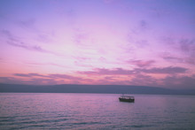 Dawn Over The Sea Of Galilee. Beautiful Sea Of Galilee In The Morning. Time Before Sunrise