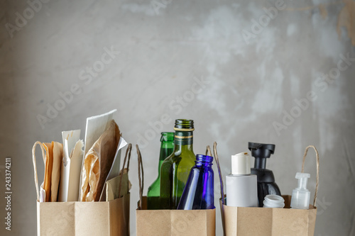 Fotografia, Obraz  Three paper bags with sorted household waste