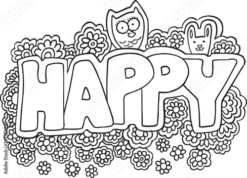 Cute Happy Flowers Coloring Page Vector Illustration Art