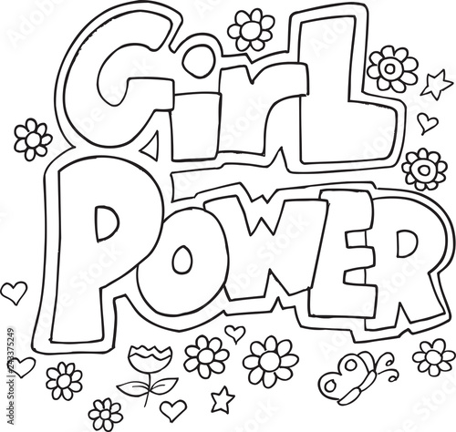 Spoed Foto op Canvas Cartoon draw Cute Girl Power Coloring Page Vector Illustration Art