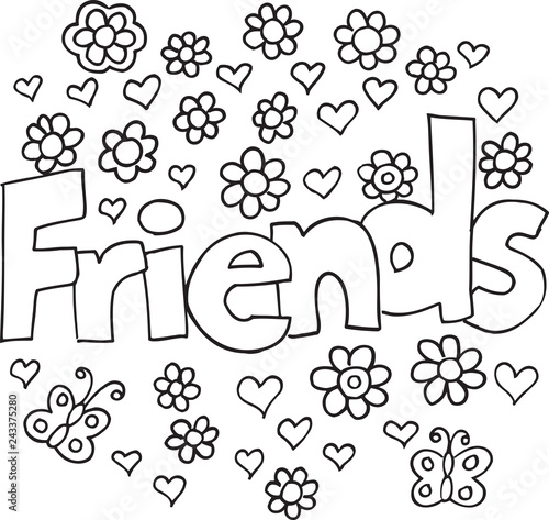 Foto op Canvas Cartoon draw Spring Flowers Friends Vector Illustration Coloring Page Art