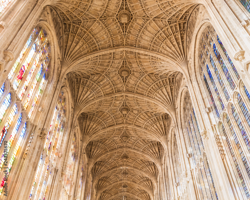 Fototapety, obrazy: Ceilings and arch windows of Kings College Chapel, Cambridge University, UK, 07, January, 2019.