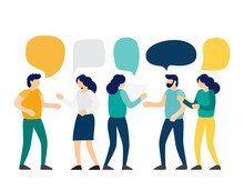 Group Of People Talk To Each Other With Speech Bubbles